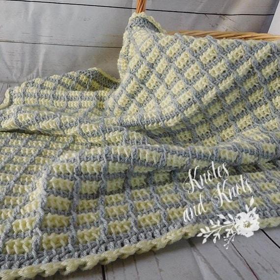 couverture pour b b jaune crochet tunisien plaid b b. Black Bedroom Furniture Sets. Home Design Ideas