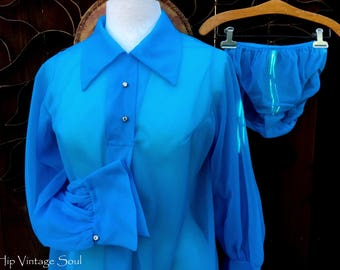REDUCED, Vintage 1960's Nighty Set, 60's Pajama Top and Panty Set, Sheer Blue Pajama Set, Retro, Mod