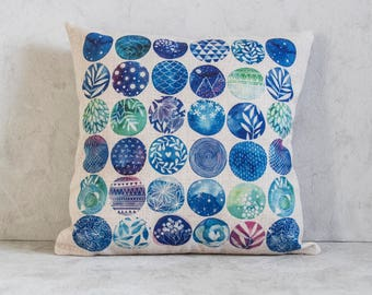 Watercolour Tropical Plant Pillow Cover, Cactus Pillow Covers, Pattern Throw Pillow, Cushion Cover, Decorative Pillow Cover, Cushion Cover