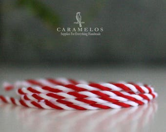 Peppermint Candy Cane red and white twisted ribbon cord 1/16""