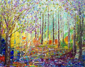 SPRING Painting Large 30x30 Abstract Pollock Inspired Impasto Trees Landscape Flowers Art by Luiza Vizoli