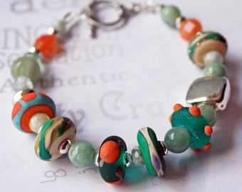 Colorful Beaded Lamp Work Tropical Bracelet Aquamarine Gemstone Bracelet Gift for Woman