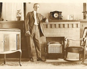 """Vintage Photo """"A Room Of His Own"""" Serious Man Fireplace Antique Clock Wooden Rocking Chair Found Vernacular Photo"""