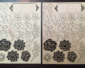 Set of two wooden embellishments, flowers, tags, leaves