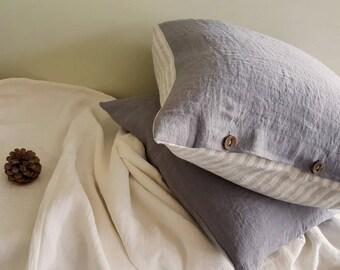 Linen pillowcase, reversible euro pillow sham - washed linen pillow cover - grey striped linen pillowslip - euro Queen King body pillow case