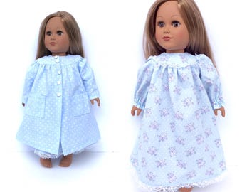 18 Inch Doll Clothes, Nightgown and Robe, Blue Polka Dot and Floral, 18 Inch Doll Nightgown and Robe, Made to Order