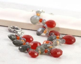 Chalcedony Bracelet Labradorite Gray Gemstone Pomegranate Carnelian Mothers Day for Mom Beaded Bracelet