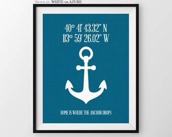 Personalized Latitude Longitude Sign Nautical Coordinates Decor Nautical Wall Decor Custom Address Sign Anchor Print Housewarming Gift