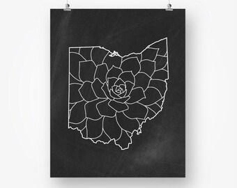 ohio print chalkboard instant download, ohio map silhouette, ohio wall art printable black and white wall decor jpg pdf digital download