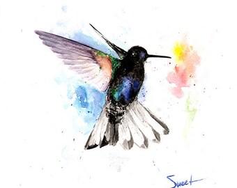 HUMMINGBIRD WALL ART - hummingbird watercolor painting, bird wall decor, bird wall art, original watercolor, bird lover, bird painting