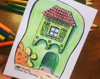 Printable coloring book - Colorful Poland houses - Printable Zine - Artist Zine - Illustration Zine