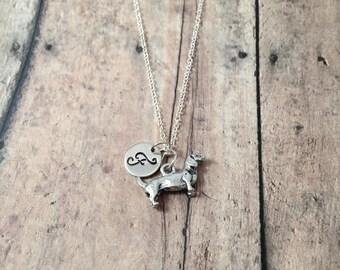 Dachshund initial necklace - dachshund jewelry, doxie necklace, silver dachshund pendant, weenie dog necklace, doxie jewelry, dog jewelry