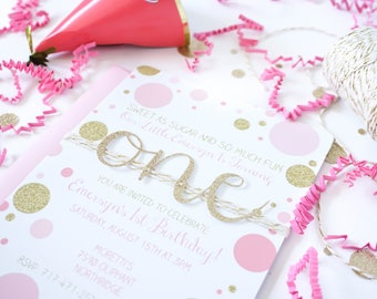 First birthday invitation, Baby girl birthday, handmade, Pink, gold birthday invitation,  Gold glitter one birthday invite, Confetti dots