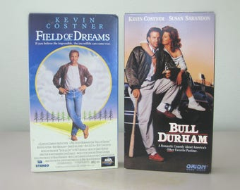 Field of Dreams & Bull Durham VHS Tapes, 80s Kevin Costner Baseball Movie Gift for Men, Sports Gift for Dad