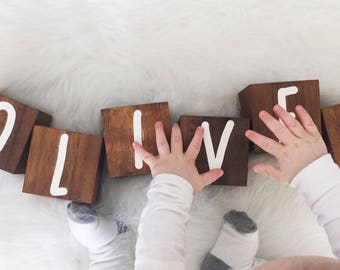 """3"""" Extra Large Personalized Baby Name Blocks - Wooden Letter Blocks - Shower Gift - Photo Prop - Dark Stain"""