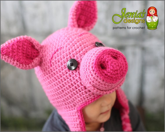 Piglet Amigurumi Free Pattern : Crochet pattern pig animal hat disney inspired piglet hat