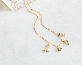 CZ Diamond Paved L.O.V.E letter Dainty Necklace - Gold / Silver - Love Charm- inspirational