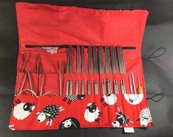 Knitting needle case, multi needle case, circular case, needle organiser, crochet hook case, DPN case, interchangeable needle case