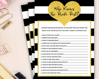 gold heart bridal shower game, who knows the bride best bridal shower game, black white stripes bridal shower games, wedding shower game