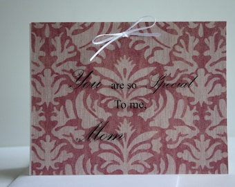 You are so special to me, mom, mother's day card made with ribbon and acetate, comes with envelope and seal