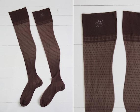 vintage sheer nylon stockings | Hanes diamond stockings | 1960s brown tights | 60s panty hose