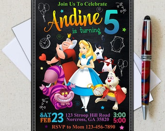 Alice in Wonderland Invitation/Alice in Wonderland Birthday/Alice Invitations/Alice in Wonderland Party/Mad Hatter/Tea Party Invitations