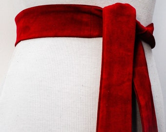 Red Suede Sash Belt | Suede Obi Wrap Belt | Leather Replacement belt | Narrow Suede Leather Belt