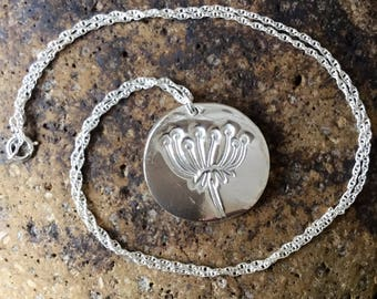 Fine Silver Agapanthus Circular Pendant with Chain - available for immediate dispatch!