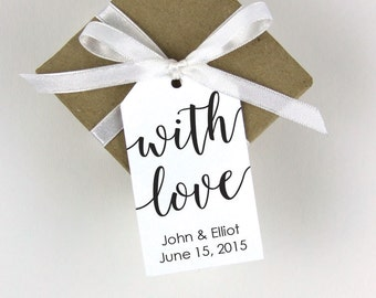 With Love Tag - Wedding Favor Tags - Custom Tags - Bridal Shower Tags - Personalized Tags - SMALL
