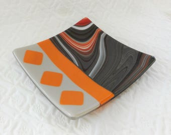 Square  African Inspired Fused Glass Dish, Fused Glass Plate, Glass Candy Dish, Pillar Candle Holder, Gray and Terra Cotta, Masculine Gift