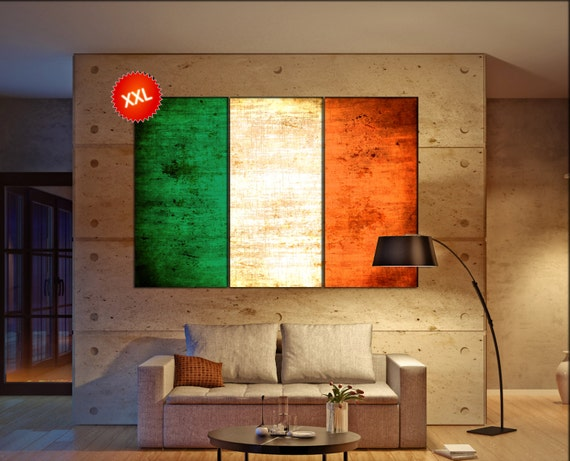 Ireland flag canvas wall art art print large  canvas wall art print Ireland country flag Wall Home office decor interior Office Decor