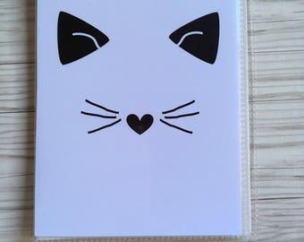 Cat face planner sticker book,  4x6 sticker organizer, sticker storage, sticker album, planner accessories