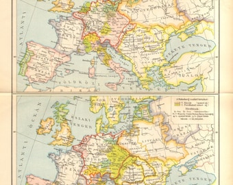 1893 Original Antique Map of Europe in the Year 1648 after the Peace of Westphalia, and at the Time of the Protestant Reformation