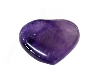 1 (ONE) Amethyst Heart Shaped Stone - Chakra - Metaphysical - Worry Stone - Heart Stone - Birthstone - Reiki - Wire Wrapping  (RK81B5-03)