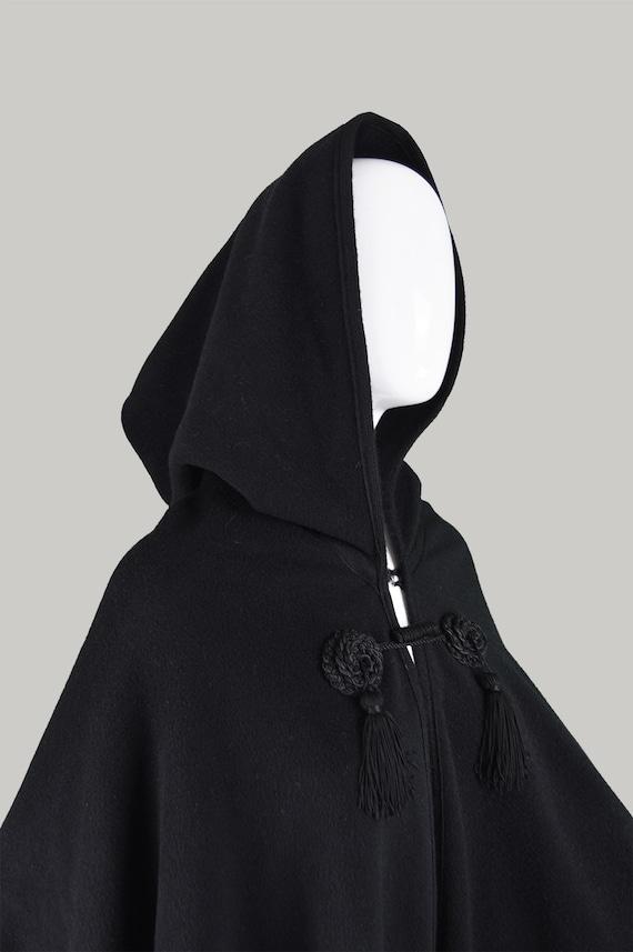 Vintage 60s HARRODS Black Wool Cape Maxi Cape Coat Womens Cloak Gothic Cape Fringe Cape Long Black Cape 1960s Boho Clothing 60s Tassel Cape