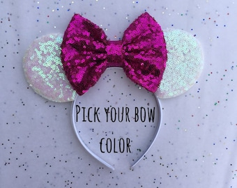 Hot Pink Minnie Mouse Ears, Iridesent Mickey Mouse Ears, Iridescent Minnie Mouse Ears, Birthday Mouse Ears, Iridescent Mouse Ears