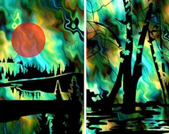 Artist Hand Created 4 Fabric 100% Cotton Sateen Art Prints Panel Landscape Green Blue Sky Quilting