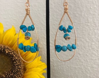 Boho chic Turquoise blue and gold tone earrings