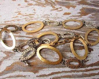 MOD Chain Link Belt Vintage Silver and Gold Belt fREE SHIPPING