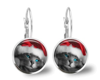 Christmas Earrings Christmas Jewelry Tile Earrings Santa Cat Earrings Cat Jewelry Holiday Jewelry Beaded Jewelry Silver Jewelry