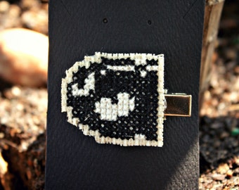 Handmade Bullet Bill Super Mario Hair Clip // Cross Stitch // Gaming Head Piece