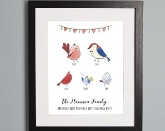 Family Birds Personalised Portrait A4 Print