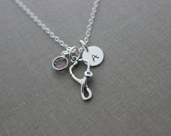 Sterling silver Stethoscope necklace - Nurse Jewelry - Registered Nurse, caregiver, nurses week - Custom Initial disc  Swarovski Birthstone