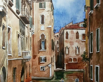 Original Watercolor Painting, Original Watercolor Artwork, Venice Watercolor, Italy Watercolor, 21x28 cm