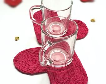 Crochet coasters Set of 2 coasters Heart coasters Drink coasters Crochet heart Table accessories Valentine's day décor AnaValenArt Gift idea