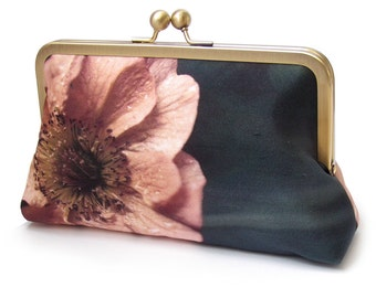 Coral poppy clutch bag, silk purse, bridesmaid clutch, peach flower petals, ORANGE POPPY