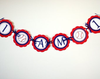 Baseball I AM 1 Mini Banner, Happy 1st Birthday baseball theme party decorations in red and blue