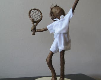 Little Tennis Player. Made to Order. sculpture of tennis player