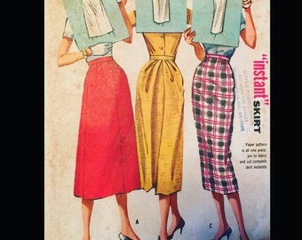 Vintage 50s Rockabilly Sexy Secretary Pencil Skirt EASY Sewing Pattern 4167  W26