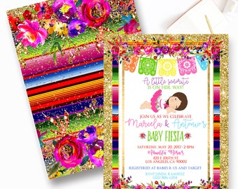 Fiesta Baby Shower Invitation, Mexican Fiesta Baby Shower Invite, Senorita, Fiesta, Floral Fiesta- 0001